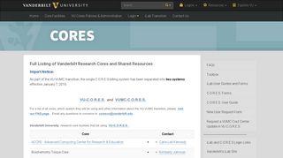 CORES   Vanderbilt University