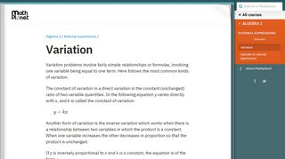 Variation (Algebra 2, Rational expressions) – Mathplanet
