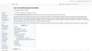List of mathematical symbols - Wikipedia
