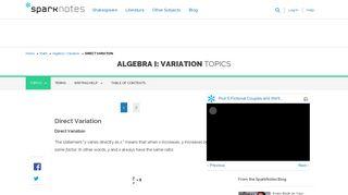 SparkNotes: Algebra I: Variation: Direct Variation