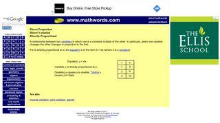 Mathwords: Direct Variation
