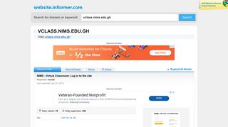 vclass.nims.edu.gh at WI. NIMS - Virtual Classroom: Log in to the site