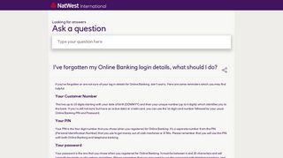 I've forgotten my Online Banking login details, what should I do ...
