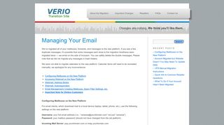 Managing Your Email | Verio Transition Information Site