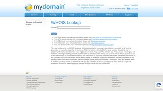WHOIS Lookup - MyDomain
