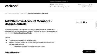 Add/Remove Account Members - Usage Controls   Verizon Wireless
