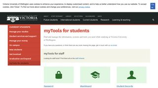 myTools for students | Victoria University of Wellington