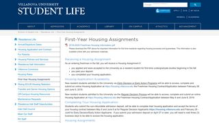 First-Year Housing Assignments | Villanova University