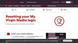 Resetting your My Virgin Media Login | Virgin Media Ireland
