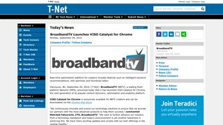 BroadbandTV Launches VISO Catalyst for Chrome   T-Net News