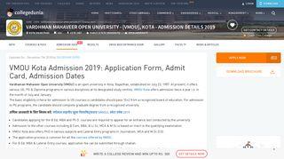 VMOU Kota Admission 2019: Courses, Result, Admit Card, Timetable
