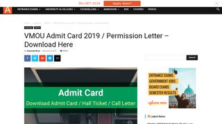 VMOU Admit Card 2018 / Permission Letter - Download Here ...