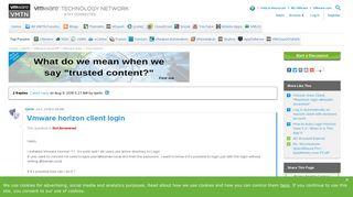 Vmware horizon client login |VMware Communities