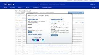 Volvofinans Bank AB Credit Rating - Moody's