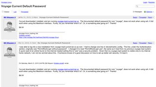 Voyage Linux - Voyage Current Default Password