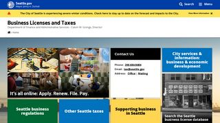 Business Licenses and Taxes - Seattle.gov