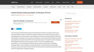 Online Pension Status by Deptt. of Pension, PF & GI | WBXPress
