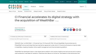 CI Financial accelerates its digital strategy with the acquisition of ...