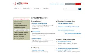 WebAssign - Instructor Support
