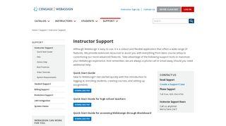 Instructor Support - WebAssign