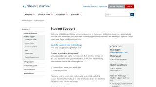 Student Support - WebAssign