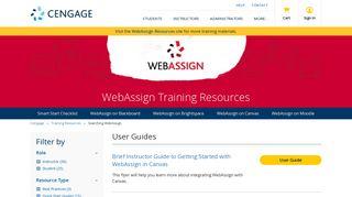 WebAssign - Training Resources - Cengage
