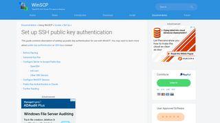 Set up SSH public key authentication :: WinSCP