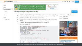 Instagram login programmatically - Stack Overflow
