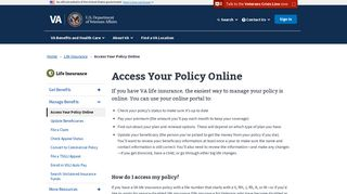 Access Your Policy Online: VA.gov