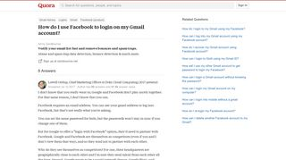 How to use Facebook to login on my Gmail account - Quora