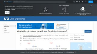 usability - Why is Google using a (new) 2 step Gmail sign in ...