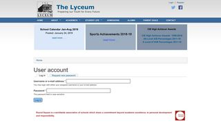 User account | The Lyceum