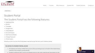 Student Portal | Lyceum Correspondence College