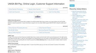 UNISA Bill Pay, Online Login, Customer Support Information