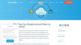 What Has Your Google Account Been up to Recently? - Backupify