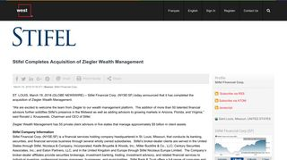 Stifel Completes Acquisition of Ziegler Wealth Management NYSE:SF
