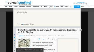 Stifel Financial to acquire B.C. Ziegler's wealth management business