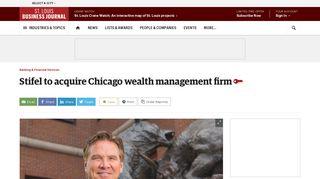 Stifel to acquire Chicago wealth management firm Ziegler Wealth ...