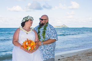 Bride & Groom at Waimanalo Bay