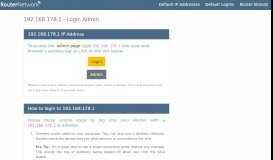 192.168.178.1 - Login Admin - Router Network