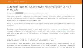 Automate login for Azure Powershell scripts with Service ...