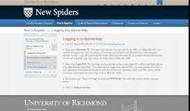 BannerWeb - New Spiders - University of Richmond