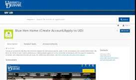 Blue Hen Home (Create Account/Apply to UD) | My UD