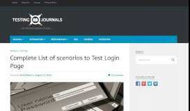 Complete List of scenarios to Test Login Page | Testing Journals