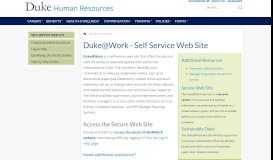 Duke@Work - Self Service Web Site | Human Resources