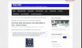 Fed Poly Idah Admission List 2018/2019 is Out- Check It Here. : Study ...