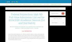 Federal Polytechnic Idah ND Full-time Admission List, 2018/2019