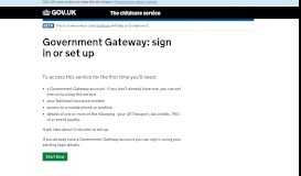 Government Gateway - Tax-Free Childcare