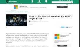 How to Fix Mortal Kombat X's WBID Login Error - Gamezebo