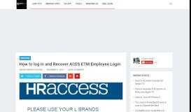 How to log in and Recover ACES ETM Employee Login